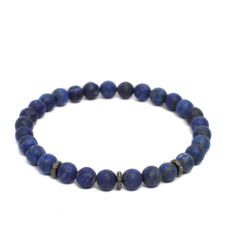 Accent Stopper Bracelet in Blue CZ & Black Rhodium Plating