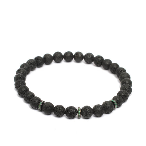 Accent Stopper Bracelet in Green CZ & Black Rhodium Plating