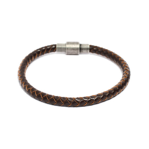 Round Braided Genuine Brown Leather Bracelet