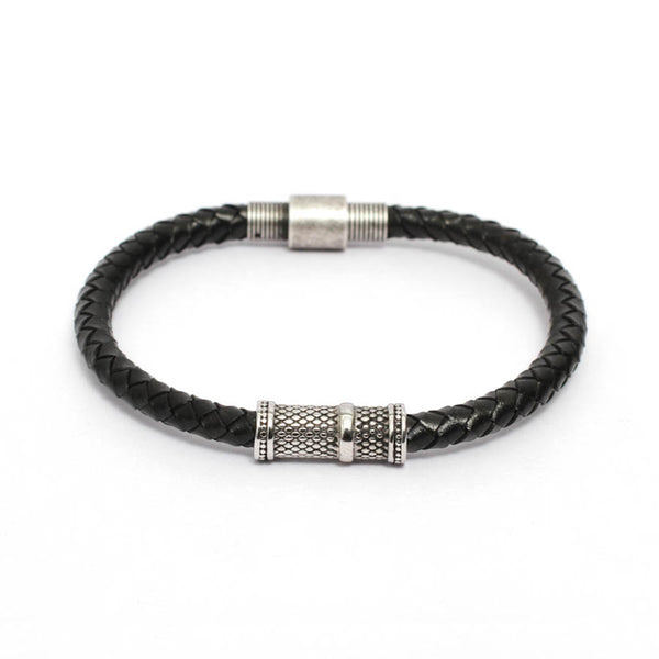 Braided Black Leather Bracelet with Cross Diamond Details