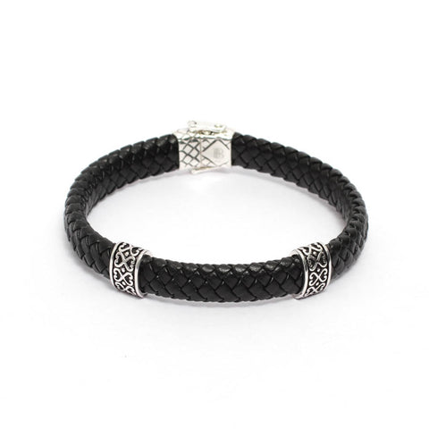 Men's Black Leather Bracelet with Tribal Art Motifs