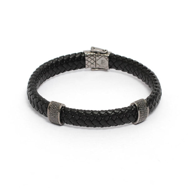Men's Black Leather Bracelet with Black CZ Stoppers
