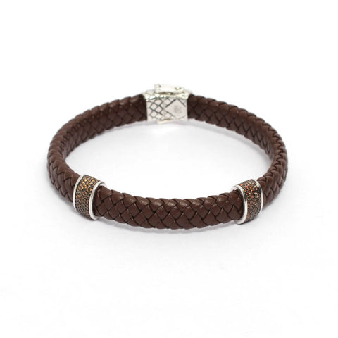 Men's Brown Leather Bracelet with Brown CZ Stoppers