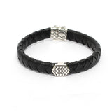 Mens Black Leather Bracelet with Cross Details Motif