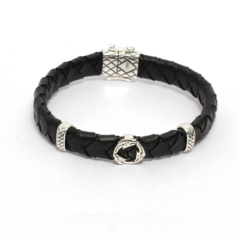 Dragon Skull Inpspired Mens Black Leather Bracelet