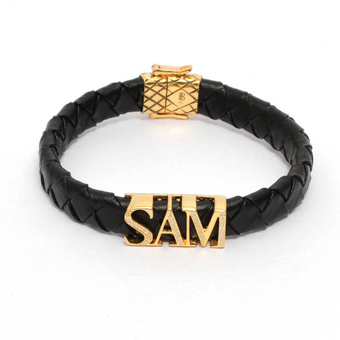 Brass Custom Initial Leather Bracelet in Yellow Gold Plating & White CZ Diamonds - Three Letters Only