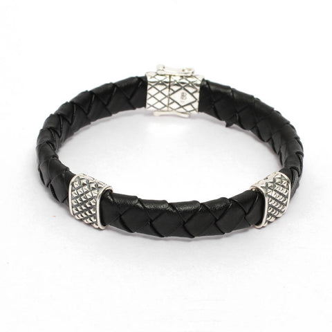 Mens Black Leather Bracelet in Double Diamond Inspired Details