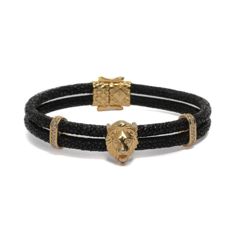 Royal Lion In Double Layered Exotic Leather Bracelet & Yellow Gold Plating