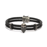 Mighty Opulence Of The Bandit Skull Bracelet in Black Stingray Leather