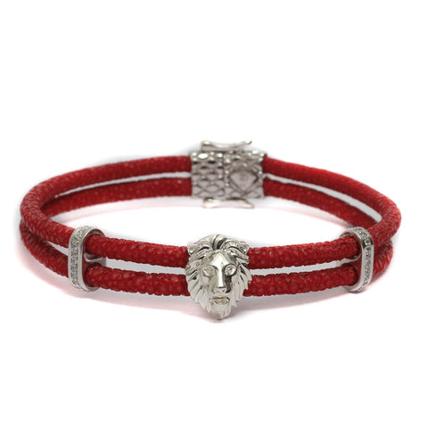 Royal Lion In Double Layered Exotic Leather Bracelet & White Gold Plating