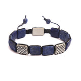 Dragon Scales Flat Bead Bracelet in Lapis Lazuli Gemstones