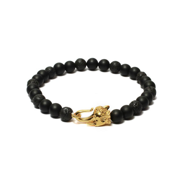 The Elephant Head Beaded Bracelet in Yellow Gold Plating