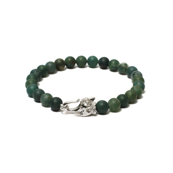 The Elephant Head Beaded Bracelet in White Gold Plating