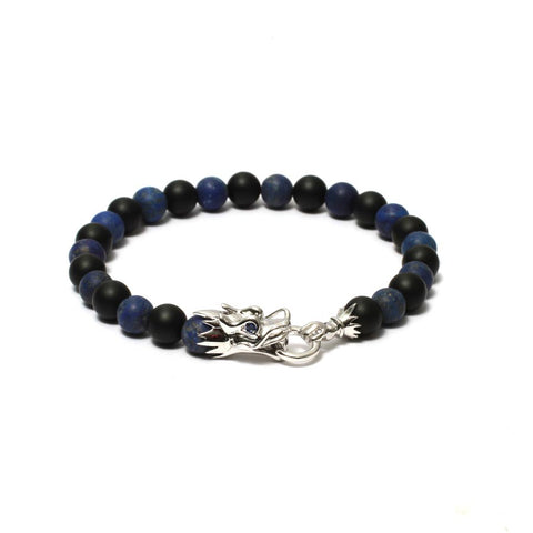 The Siege of the Dragon Beaded Bracelet in Silver Plating