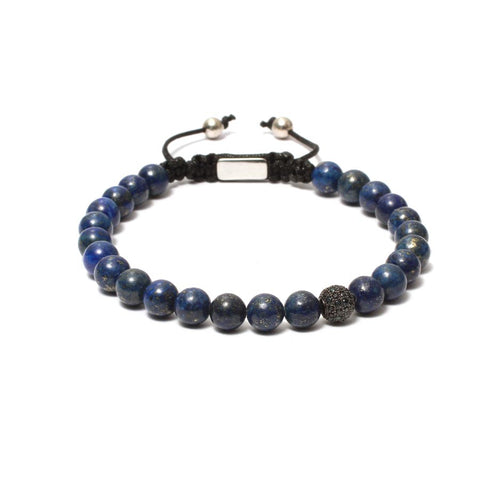 The Macrame Drawstring Styled Bead Bracelet in 8mm Lapis Lazuli Gemstones