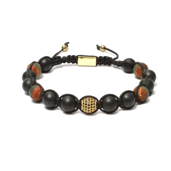 The Urban Pod Macrame Bracelet in Tibetan Agate, Black Onyx Gemstones
