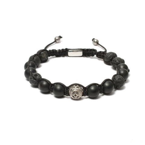 The Urban Pod Macrame Bracelet in 10mm Black Onyx, Lava Gemstones