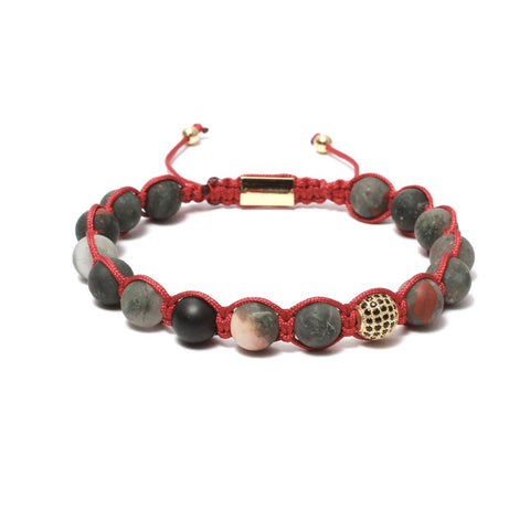 The Urban Pod Macrame Bracelet in Matte African Blood Stone