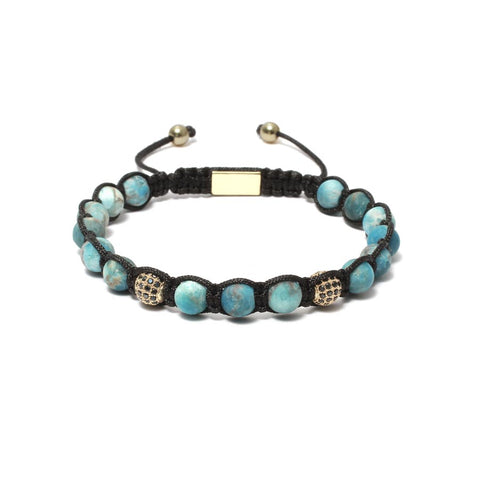 The Urban Pod Macrame Bracelet in Matte Apatite Gemstone