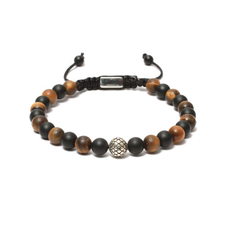 The Macrame Drawstring Styled Bead Bracelet in Yellow Tiger Eye, Black Onyx Gemstones