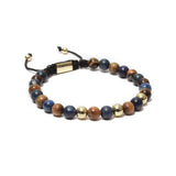 The Macrame Drawstring Styled Bead Bracelet in Yellow Tiger Eye, Lapis Lazuli Gemstones