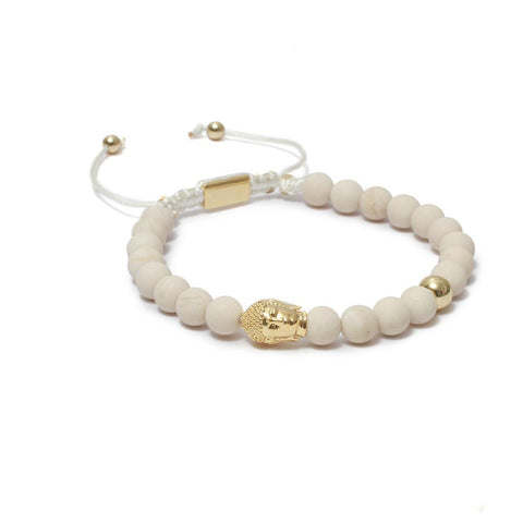The Macrame Drawstring Styled Buddha Bead Bracelet in Riverstone Gemstones