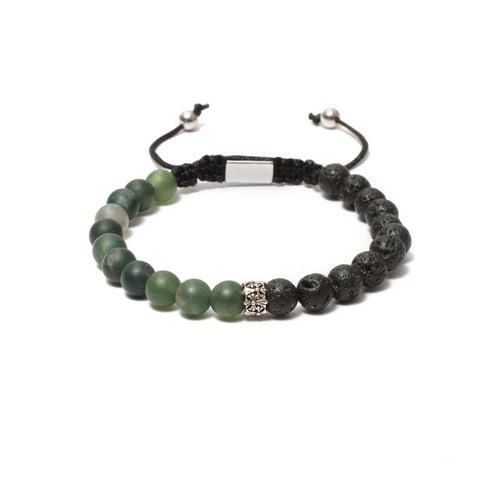 The Macrame Drawstring Styled Bead Bracelet in Moss Agate, Lava Gemstones