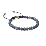 The Macrame Drawstring Styled Bead Bracelet in 6mm Lapis Lazuli Gemstones