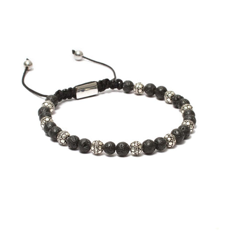 The Macrame Drawstring Styled Bead Bracelet in Volcanic Lava Beads