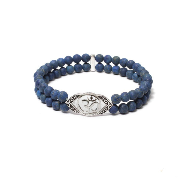 Ornate OM Bracelet in Gemstone Beads & White Gold Plating