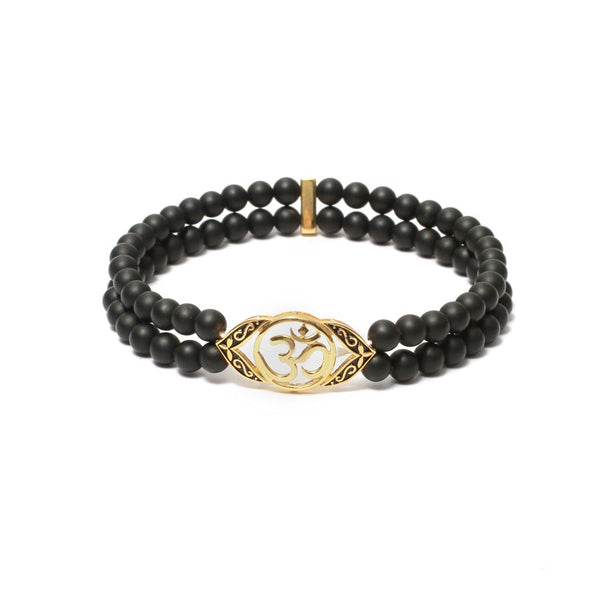 Ornate OM Bracelet in Gemstone Beads & Yellow Gold Plating