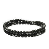 Two Layer Wrap Bracelet in Black Onyx, Hematite Gemstone Beads