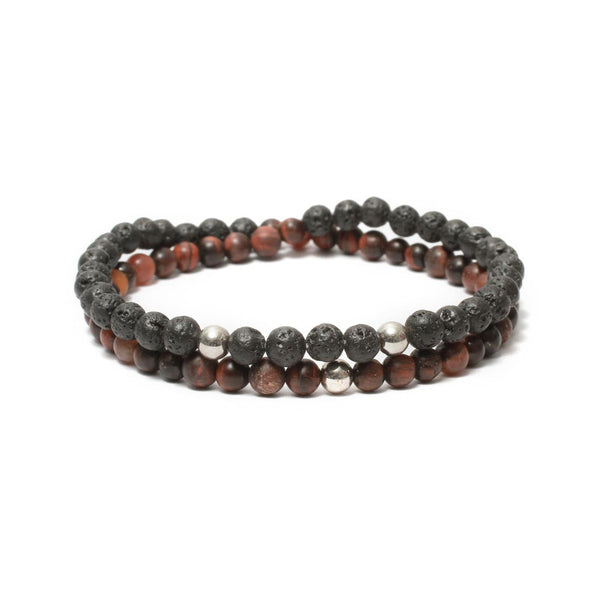 Two Layer Wrap Bracelet in Red Tiger Eye, Lava Gemstone Beads