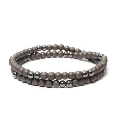 Two Layer Wrap Bracelet in Hematite Gemstone Beads