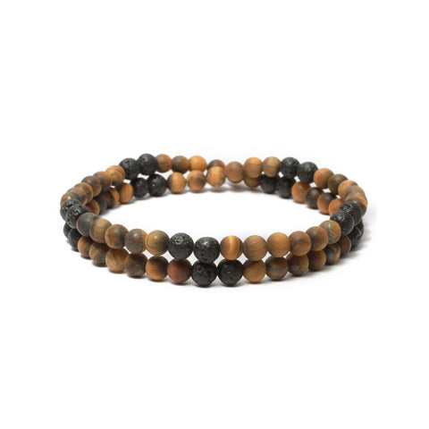 Two Layer Wrap Bracelet in Yellow Tiger Eye, Lava Gemstone Beads
