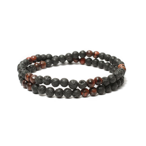 Two Layer Wrap Bracelet in Lava, Red Tiger Eye Gemstone Beads