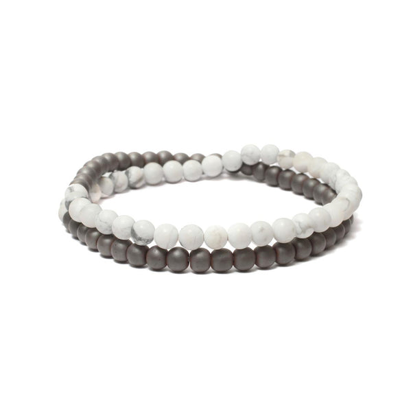 Two Layer Wrap Bracelet in Hematite, Howlite Gemstone Beads