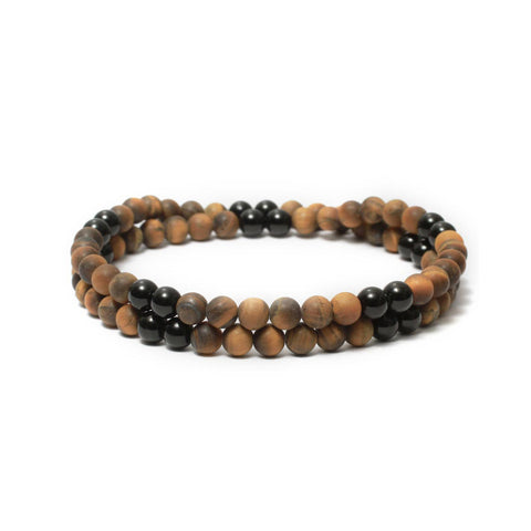 Two Layer Wrap Bracelet in Black Onyx, Tiger Eye Gemstone Beads