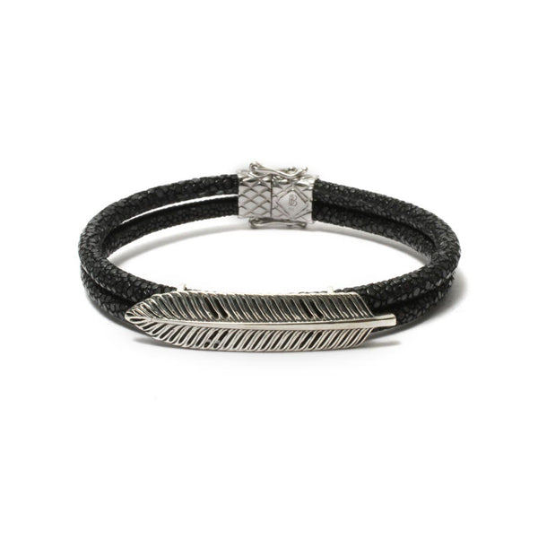 The Free Spirit Feather Bracelet in Black Stingray