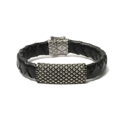 Diamond Inspired Flat Bar Bracelet in Black Leather