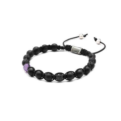 The Urban Pod Macrame Bracelet in Matte Black Onyx, Amethyst Gemstone