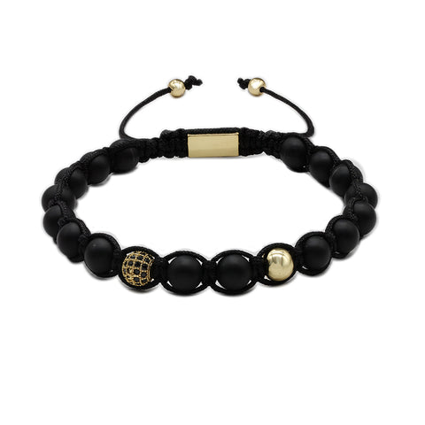 The Urban Pod Macrame Bracelet in 8mm Black Onyx Gemstone