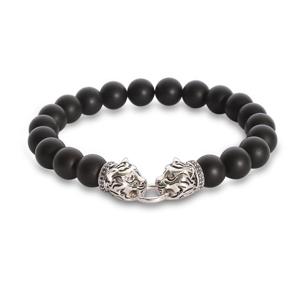 The Twin Tiger Vintage Bracelet in White Gold Plating
