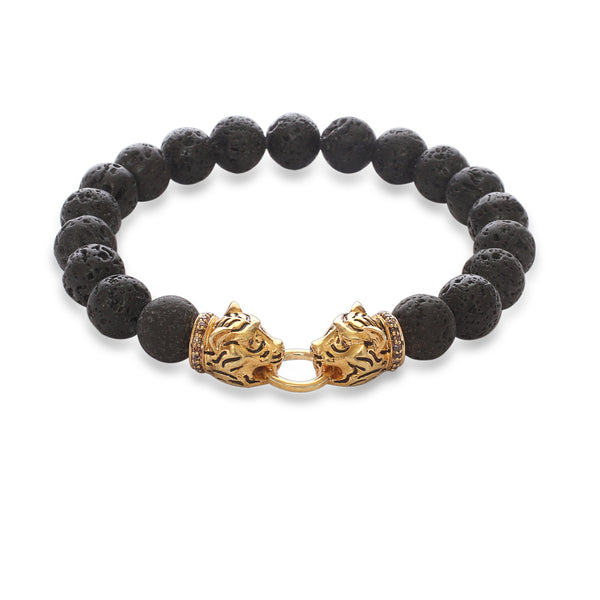 Twin Tiger Vintage Bracelet in Yellow Gold Plating