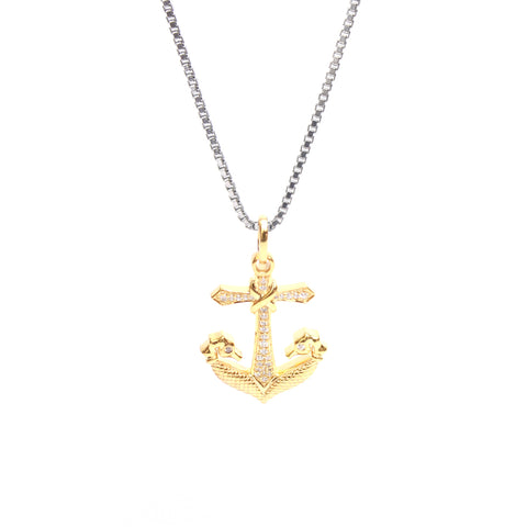 Twin Seahorse Anchor Pendant In CZ Diamond With Box Chain