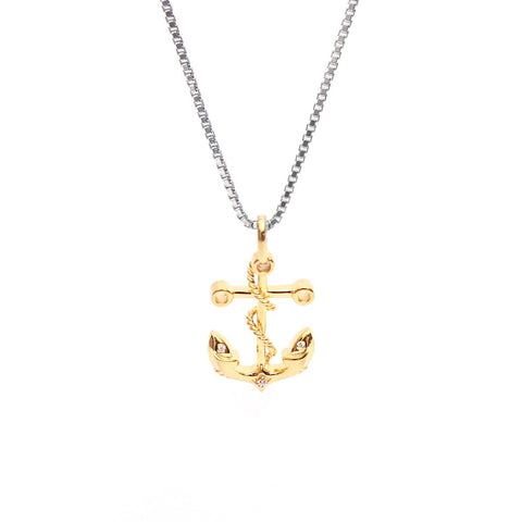 Dolphin Eye Anchor Pendant In CZ Diamond With Box Chain