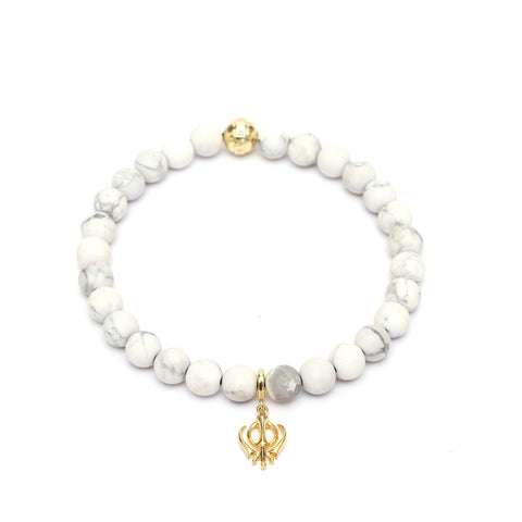 The Khalsa Bracelet in Howlite Gemstone Beads