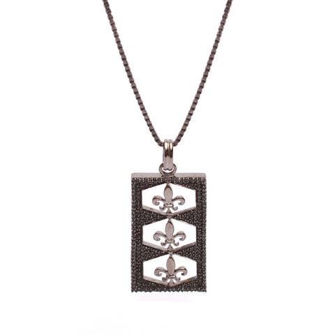 Fleur De Lis Trinity Pendant In CZ Diamonds With Box Chain