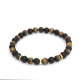 Hexagon Accent Stopper Bracelet in Black Onyx, Yellow Tiger Eye Gemstone Beads