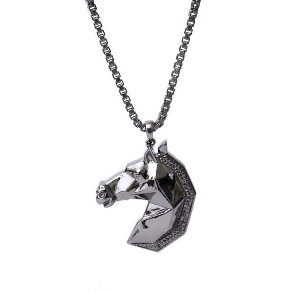 The Stallion Head Facet Pendant With Box Chain
